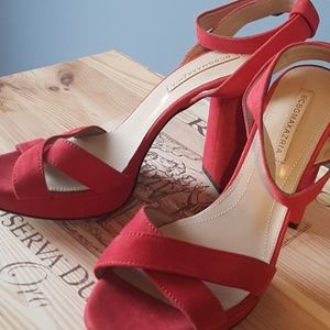 BCBG Max Azria Red Suede Chunky Heel Sandal